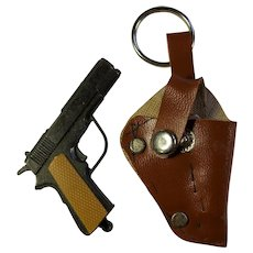 Vintage Miniature Toy Metal Gun In Faux Leather Holster