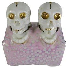 Vintage Porcelain Skull Nodder Salt & Pepper Shakers