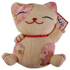 Stuffed Maneki-Neko Lucky Cat Doll With Original Hang Tag