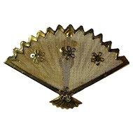 1940s Golden Fan Brooch