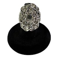 Kenneth Jay Lane CZ Rose Cocktail Ring Size 7