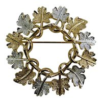 Sarah Coventry Silver & Gold Oak Leaf Wreath Brooch