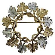 Sarah Coventry Silver & Gold Oak Leaf Wreath Brooch