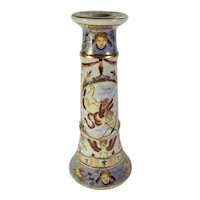 Gold-Trimmed Porcelain Candlestick With Cherubs & Swans