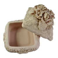 Bisque Porcelain Keepsake Box With Roses
