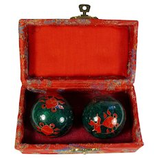 Chinese Baoding Exercise Balls In Brocade Box