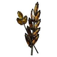 1950s Amber Glass Wheat Sheaf Brooch