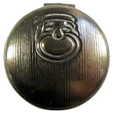 1930s Max Factor Art Deco Metal Eyeshadow Compact With Comedy Mask
