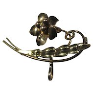 SALE! Carl-Art Gold-Filled On Silver Floral Brooch With Watch Hook
