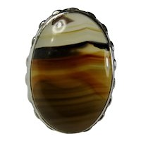 Sterling Silver & Banded Agate Ring Size 3