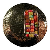 1970s Beaten Brass Cutout Brooch With Multicolored Wooden Beads