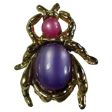 Vintage Pink & Purple Jelly Belly Bug Brooch
