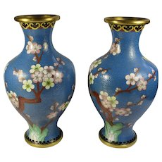 Pair of Blue & Gold Cloisonne Cherry Blossom Vases From People's Republic of China