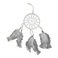 Vintage Native American Dreamcatcher With White Feathers & Beads