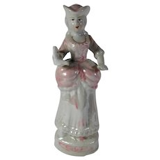 Lusterware Lady Figurine In Victorian Dress With Book