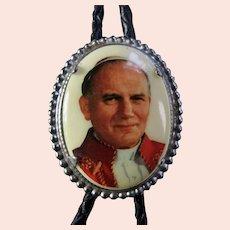 Vintage Pope John Paul II Enamel & Leather Bolo Tie