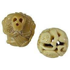 Skeleton Musician & Monkey Ball Bone Netsukes (Set of 2)