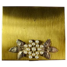 1950s Gold Mirror Compact With Faux Pearls
