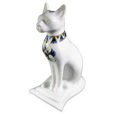 White Porcelain Bast Egyptian Cat Goddess Statue
