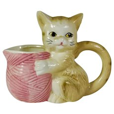 Ceramic Kitten & Yarn Cream Pitcher