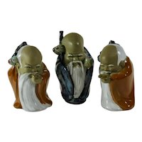 Set of 3 Fulushou Mud Men Figurines