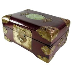 Rosewood & Brass Jewelry Box With Jade Inlay
