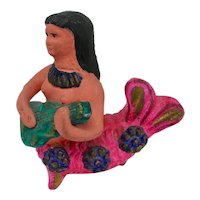 Earthenware Sirena Mermaid Figurine From Mexico