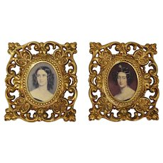 Two Gold-Framed Miniature Prints of Argentine Beauty Maria Josefa Ezcurra