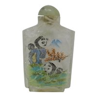 Chinese Crackle Glass Snuff/Perfume Bottle With Panda Design