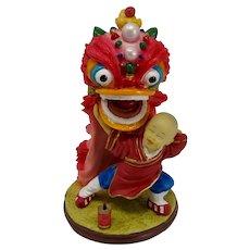 Ceramic Chinese Boy Lion Dancer Statue