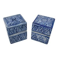 Set of 2 Blue Patterned Porcelain Trinket Boxes From China