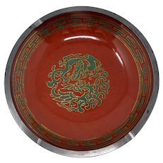 Red Ceramic & Pewter Ashtray With Green Dragon Pattern