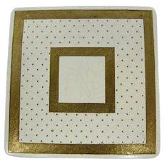1950s White & Gold Enamel Mirror Compact