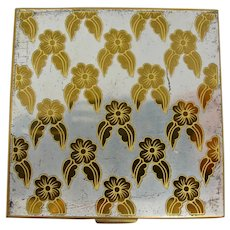 1950s Volupte Mirror Compact With Silver & Gold Dogwood Blossoms