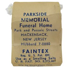 "1940s ""Faintex"" Smelling Salts Kit From Parkside Memorial Funeral Home, Hackensack N.J."