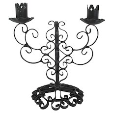 Black Wrought Iron Candelabra With 2 Holders