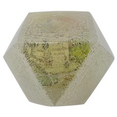 World Globe In Crackle Glass Paperweight