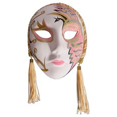 Bisque Porcelain Mardi Gras Mask With Tassels
