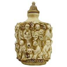 Carved Bovine Bone Snuff Bottle With Buddhist Monks & Cats