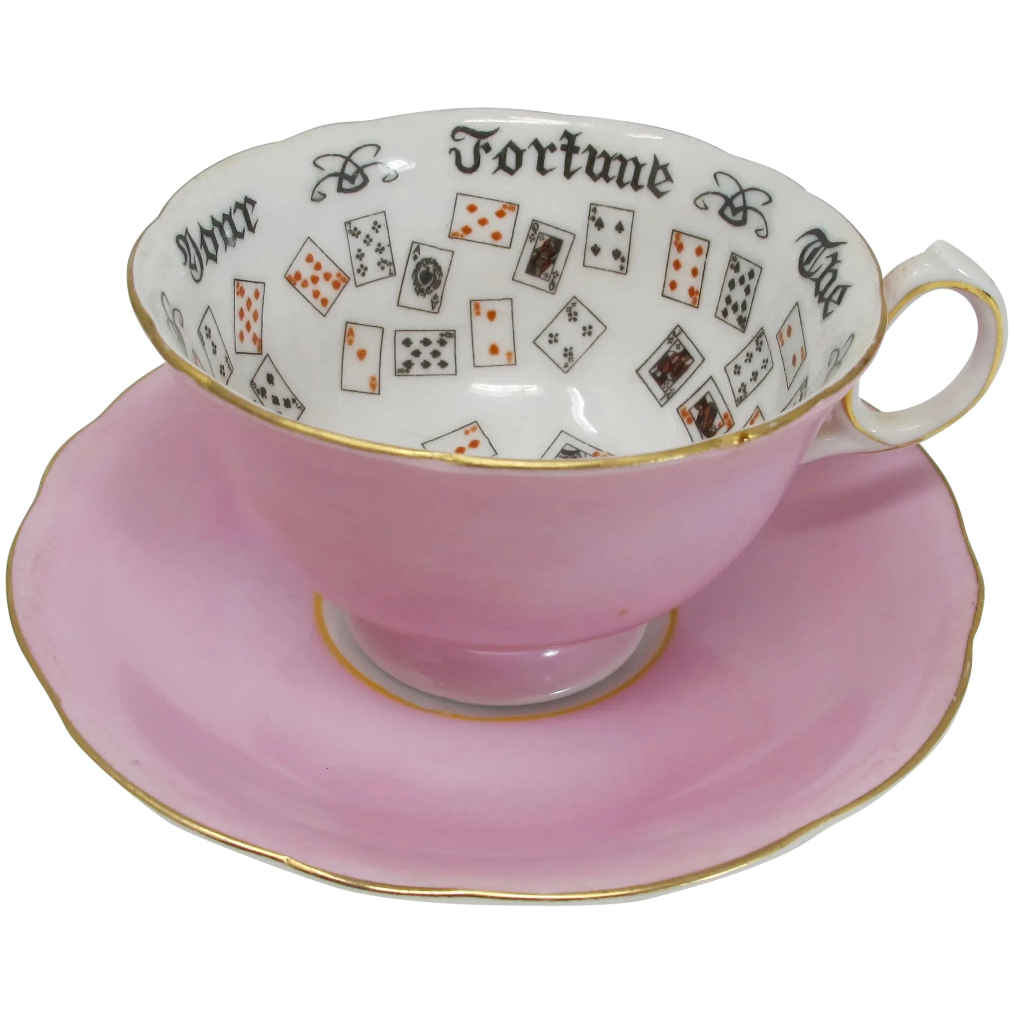 1920s Fortune Telling Teacup Saucer With Card Design Pzbaubles New Orleans Ruby Lane