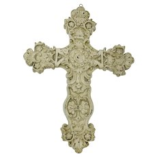 Baroque Cream Plaster Wall Cross