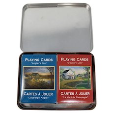 """Sam Timm """"Angler's Inn"""" Decorative Tin With Two Decks of Playing Cards"""