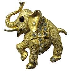 SALE! Vintage Lucky Elephant Brooch With Rhinestones