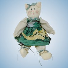 Country Kitty Cat Rag Doll In Green Dress