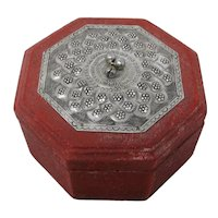 Octagonal Red Trinket Box With Ornate Silver Lid