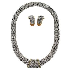 Silver & Gold Rope Choker and Earring Set