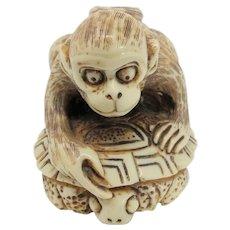 Traditional Monkey & Turtle Netsuke