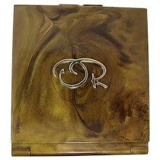 Oscar de la Renta Marbled Gold Compact Mirror
