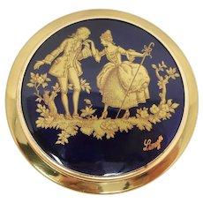 Limoge Cobalt Blue & Gold Mirror Compact