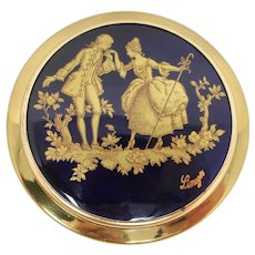 Limoges Cobalt Blue & Gold Mirror Compact